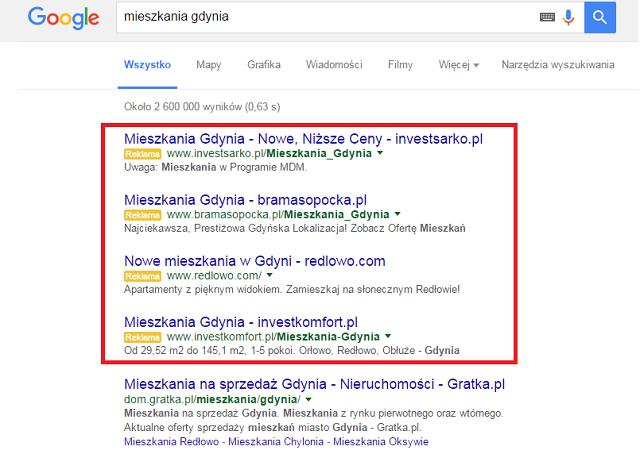 Google, reklama Google, linki sponsorowane, wyniki wyszukiwania