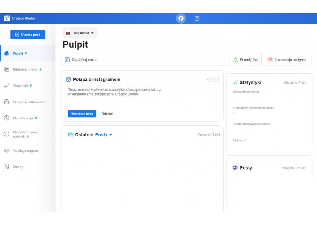 Pulpit to strona startowa Creator Studio. Jest przejrzysta i bardzo intuicyjna