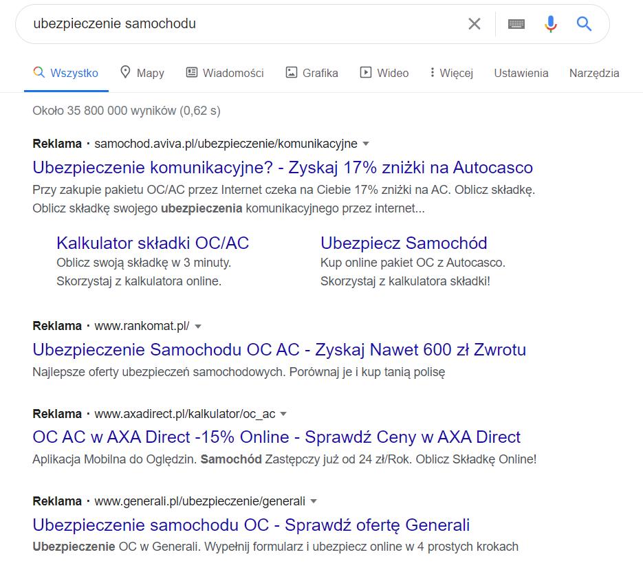 przykład licytacji Google Ads