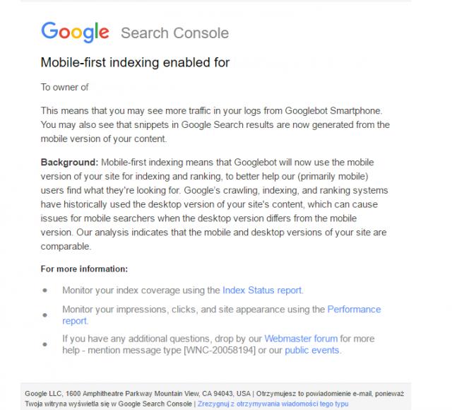 powiadomienie Google