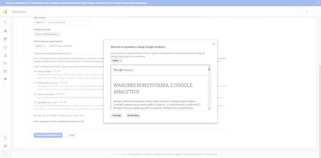 Goole Analytics regulamin na stronie